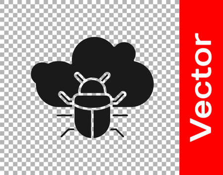 Black System bug on a cloud icon isolated on transparent background. Cloud computing design concept. Digital network connection. Vector Vettoriali