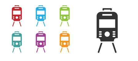 Black Tram and railway icon isolated on white background. Public transportation symbol. Set icons colorful. Vector 矢量图像