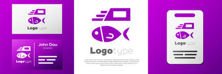 Logotype Fish and chips icon isolated on white background. Logo design template element. Vector