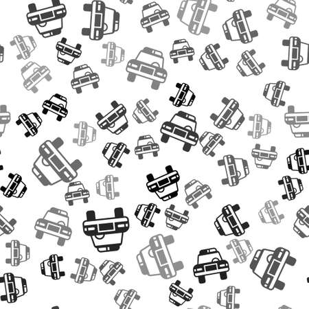 Black Police car and police flasher icon isolated seamless pattern on white background. Emergency flashing siren. Vector