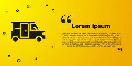 Black Minibus icon isolated on yellow background. Vector 矢量图像