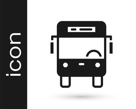 Black Bus icon isolated on white background. Transportation concept. Bus tour transport sign. Tourism or public vehicle symbol. Vector
