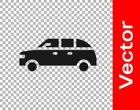 Black Hatchback car icon isolated on transparent background. Vector