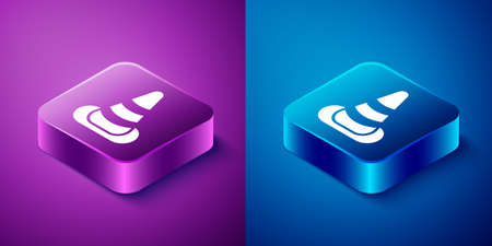 Isometric Traffic cone icon isolated on blue and purple background. Square button. Vector 矢量图像