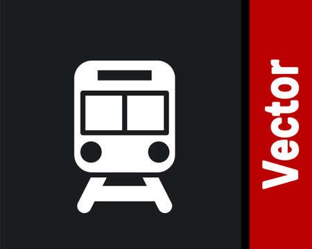 White Train and railway icon isolated on black background. Public transportation symbol. Subway train transport. Metro underground. Vector