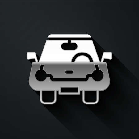 Silver Car icon isolated on black background. Front view. Long shadow style. Vector
