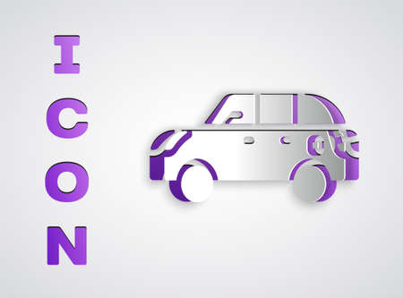 Paper cut Hatchback car icon isolated on grey background. Paper art style. Vector