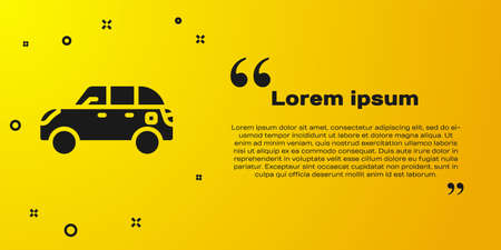 Black Hatchback car icon isolated on yellow background. Vector