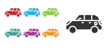 Black Hatchback car icon isolated on white background. Set icons colorful. Vector