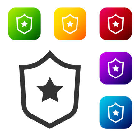 Black Police badge icon isolated on white background. Sheriff badge sign. Shield with star symbol. Set icons in color square buttons. Vector