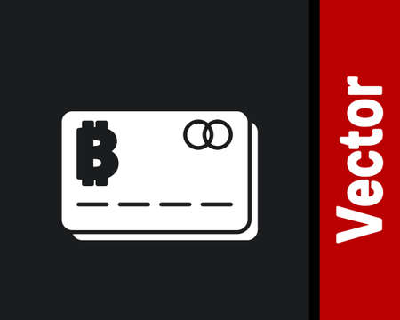 White Credit card with bitcoin icon isolated on black background. Online payment. Cash withdrawal. Modern method of payment. Vector