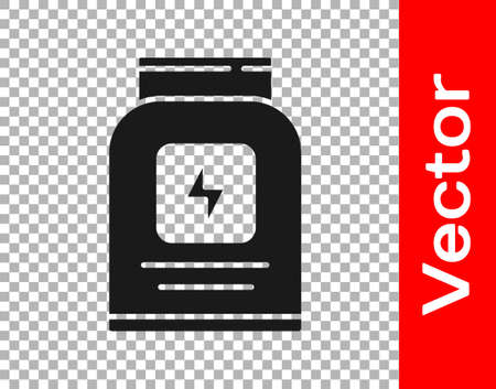 Black Sports nutrition bodybuilding proteine power drink and food icon isolated on transparent background. Vector 版權商用圖片 - 157940164