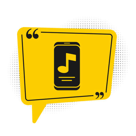 Black Music player icon isolated on white background. Portable music device. Yellow speech bubble symbol. Vector