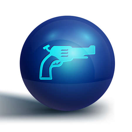 Blue Revolver gun icon isolated on white background. Blue circle button. Vector 版權商用圖片 - 157940137