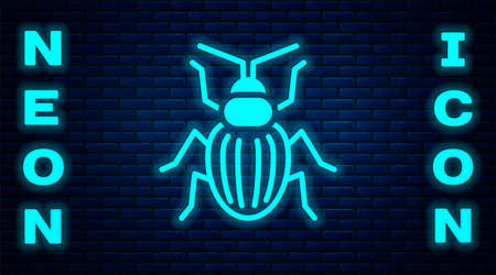 Glowing neon Chafer beetle icon isolated on brick wall background. Vector Illusztráció