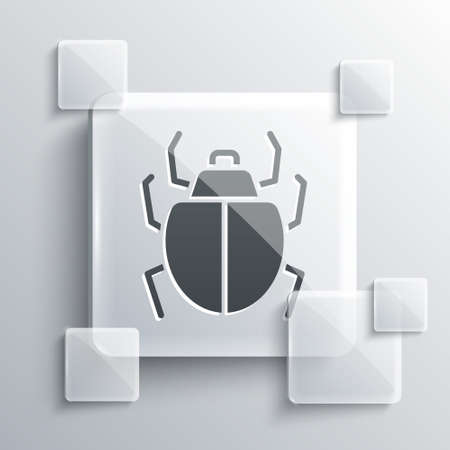 Grey Mite icon isolated on grey background. Square glass panels. Vector