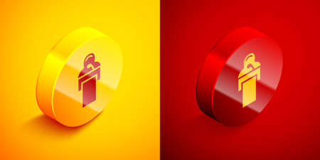 Isometric Gives lecture icon isolated on orange and red background. Stand near podium. Speak into microphone. The speaker lectures and gestures. Circle button. Vector