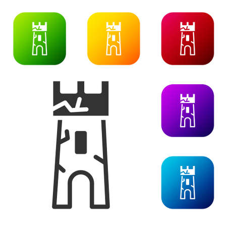 Black Castle tower icon isolated on white background. Fortress sign. Set icons in color square buttons. Vector