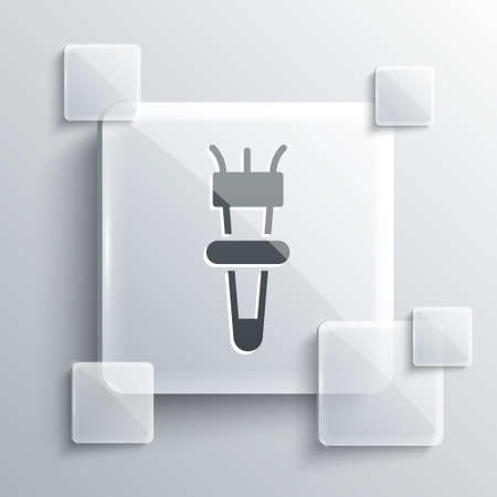 Grey Torch flame icon isolated on grey background. Symbol fire hot, flame power, flaming and heat. Square glass panels. Vector