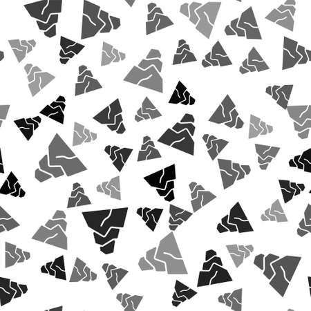 Black Rock stones icon isolated seamless pattern on white background. Vector