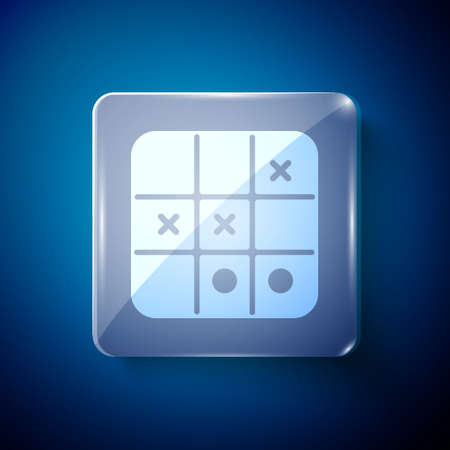 White Tic tac toe game icon isolated on blue background. Square glass panels. Vector