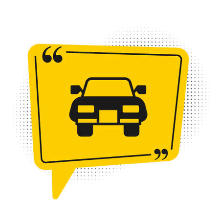 Black Car icon isolated on white background. Yellow speech bubble symbol. Vector