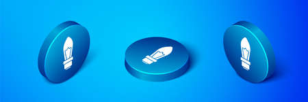 Isometric Light bulb with concept of idea icon isolated on blue background. Energy and idea symbol. Inspiration concept. Blue circle button. Vector