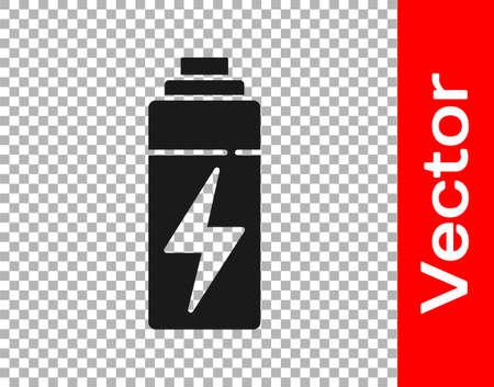 Black Battery icon isolated on transparent background. Lightning bolt symbol. Vector Illusztráció