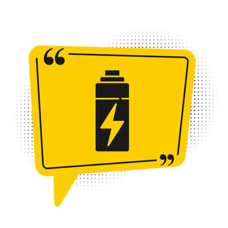 Black Battery icon isolated on white background. Lightning bolt symbol. Yellow speech bubble symbol. Vector