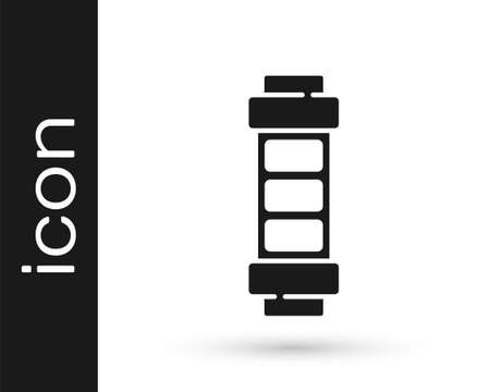 Black Battery charge level indicator icon isolated on white background. Vector