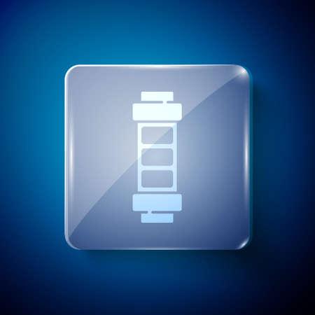 White Battery charge level indicator icon isolated on blue background. Square glass panels. Vector Illusztráció