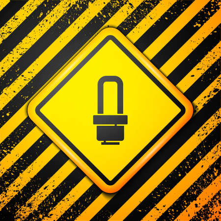 Black LED light bulb icon isolated on yellow background. Economical LED illuminated lightbulb. Save energy lamp. Warning sign. Vector Ilustracja