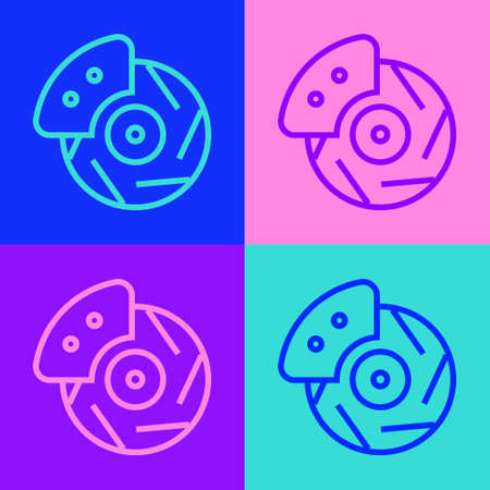 Pop art line Car brake disk with caliper icon isolated on color background. Vector Illustration Banque d'images - 157939696