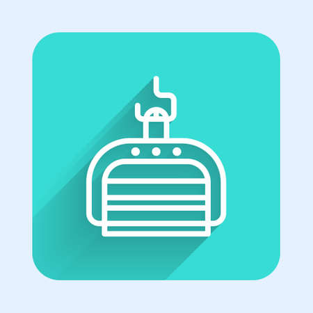 White line Ski lift icon isolated with long shadow. Green square button. Vector Illustration