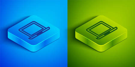 Isometric line Laptop icon isolated on blue and green background. Computer notebook with empty screen sign. Square button. Vector Illustration