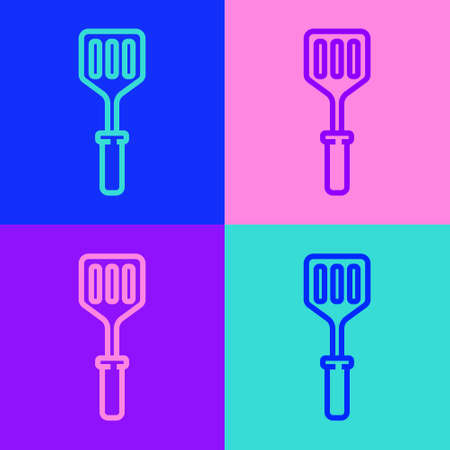 Pop art line Spatula icon isolated on color background. Kitchen spatula icon. BBQ spatula sign. Barbecue and grill tool. Vector Illustration