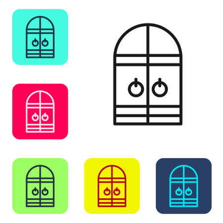 Black line Medieval castle gate icon isolated on white background. Medieval fortress. Protection from enemies. Set icons in color square buttons. Vector