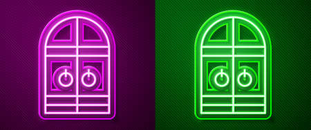 Glowing neon line Medieval castle gate icon isolated on purple and green background. Medieval fortress. Protection from enemies. Vector Ilustrace