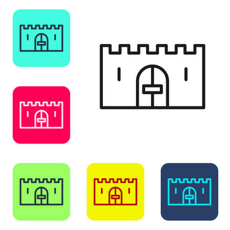 Black line Medieval castle gate in a stone wall icon isolated on white background. Medieval fortress. Protection from enemies. Set icons in color square buttons. Vector