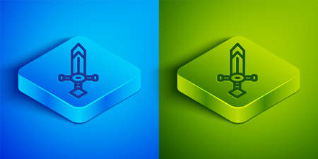 Isometric line Medieval sword icon isolated on blue and green background. Medieval weapon. Square button. Vector