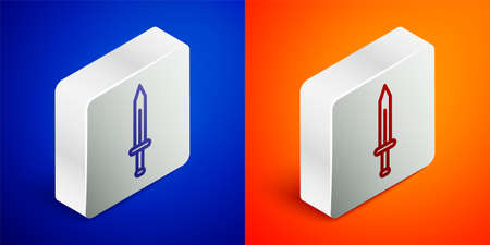 Isometric line Medieval sword icon isolated on blue and orange background. Medieval weapon. Silver square button. Vector