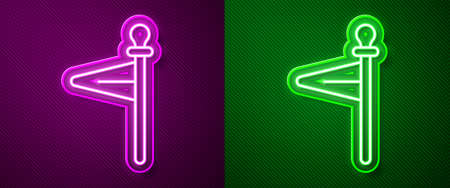 Glowing neon line Medieval flag icon isolated on purple and green background. Country, state, or territory ruled by a king or queen. Vector