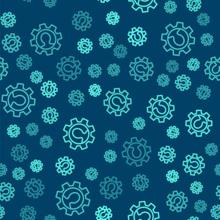 Green line Human with gear icon isolated seamless pattern on blue background. Artificial intelligence. Thinking brain sign. Symbol work of brain. Vector Ilustracja