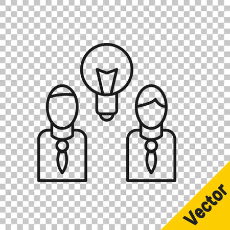 Black line People with lamp bulb icon isolated on transparent background. Concept of idea. Vector Ilustracja