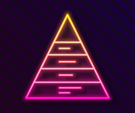Glowing neon line Business pyramid chart infographics icon isolated on black background. Pyramidal stages graph elements. Vector