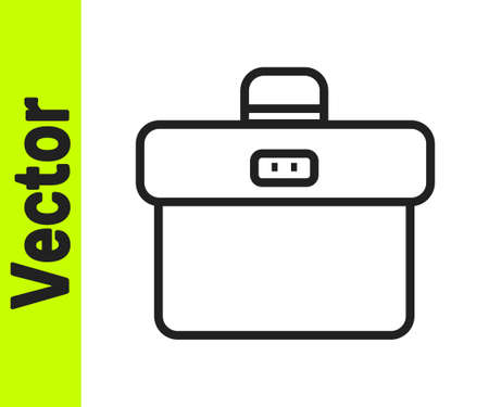 Black line Briefcase icon isolated on white background. Business case sign. Business portfolio. Vector