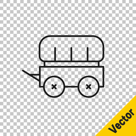 Black line Wild west covered wagon icon isolated on transparent background. Vector