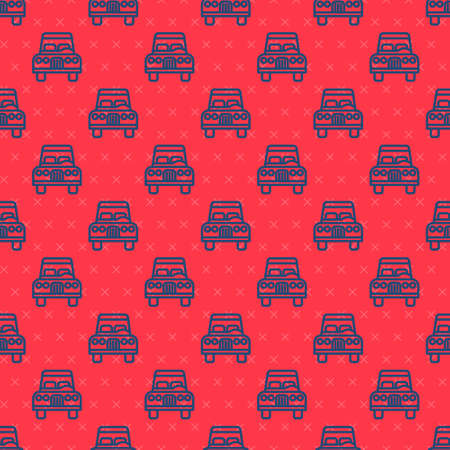 Blue line Car icon isolated seamless pattern on red background. Front view. Vector 矢量图像