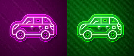 Glowing neon line Hatchback car icon isolated on purple and green background. Vector