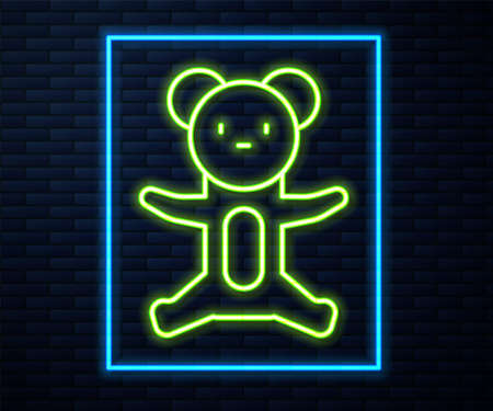 Glowing neon line Teddy bear plush toy icon isolated on brick wall background. Vector 向量圖像